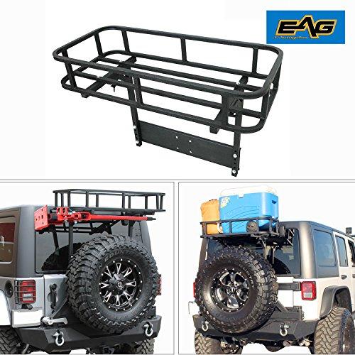 Jeep Roof Hoist: EAG Steel Rear Cargo Carrier Basket With Hi-Lift Jack